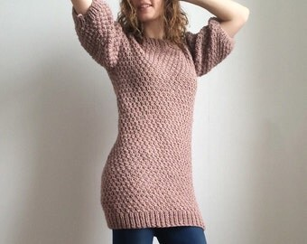 Back buttoned sweater dress