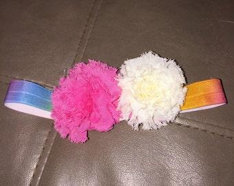 Pink rainbow bow