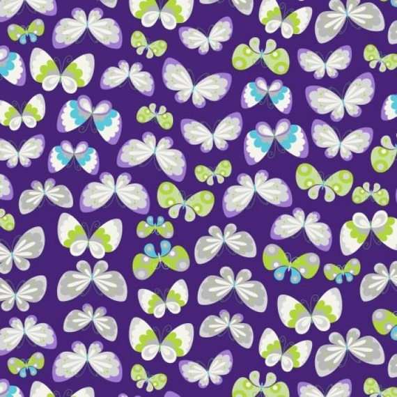 Fleece fabric butterfly baby blanket fabric by for Purple baby fabric