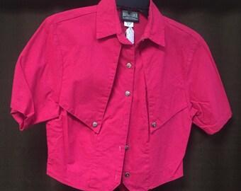 Rough rider, blouse, western, shirt, 1990, crop top. FREE SHIPPING