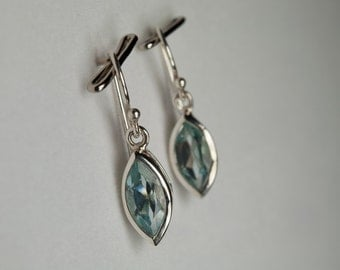B001-005-002 Handmade Sterling Silver Hoop Earrings Blue Topaz November Birthstone