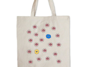 Big Alien Repeat Spikes Tote --  Spikes and Eyes tote bag -- Canvas Tote