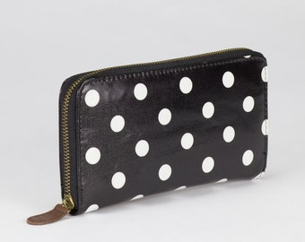 Oilcloth Zip around Wallet - Black polka dot purse - Oil cloth ladies purse- Ladies Zip wallet - Coin purse- Laminated cotton- Iphone Plus