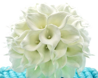 White Wedding Bouquet - Four Dozen Real Touch Artificial Calla Lilies - Select Ribbon and Pin Colors