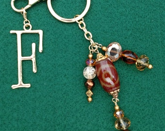 Brown, Amber, and Gold Key Chain, Purse Charm