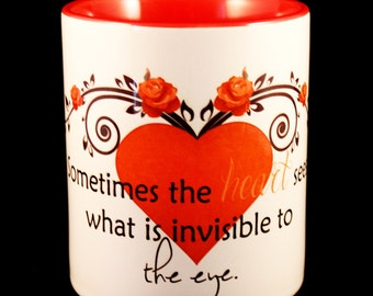 Mug - 'Sometimes the heart sees what is invisible to the eye' - Inspirational Vintage Love Mug