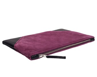 "Clutch ""Christian"" violett / black - suede - leather"