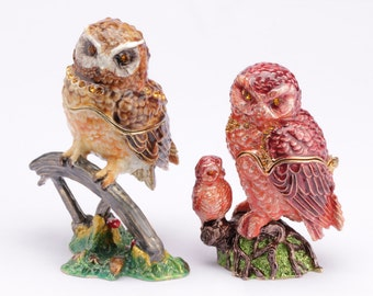 2 piece figure parents OWL with baby baby OWL as a jewelry box or pills box jewelry box collectible decoration Strass new