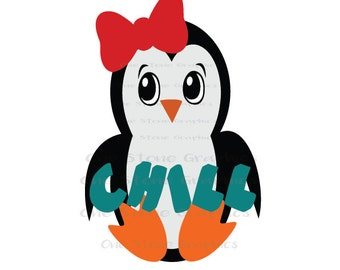 Penguin svg,girl penguin svg,penguin,penguin with bow,kids,chill,chill penguin,chill svg,winter svg,Christmas svg,christmas,cute penguin