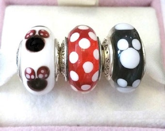 Disneys MICKEY MINNIE SIGNATURE Murano Glass Beads/ New / s925 Sterling Silver / Threaded / Fully Stamped