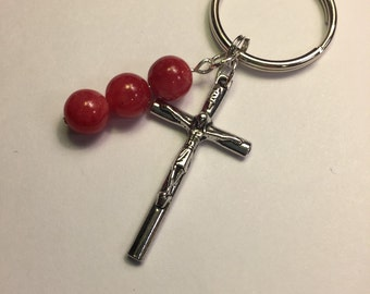 Red keychain with crucifix