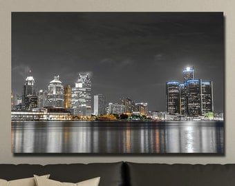 Detroit Touch of Color Skylines Canvas