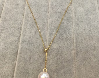 18 kt gold chain with beautiful fresh water pearl adjustable necklace