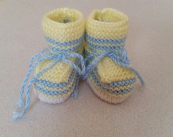Knitted baby booties, yellow, blue and white colors,size 0-3