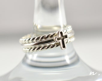 Cross ring, Christian ring, Promise ring, Tiny cross ring, Faith ring, Her gift, Silver cross ring, Stacking rings, A Set of 2 or 3 rings