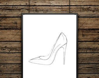Poster Drawing Luxury Shoes  - Scandinavian Style - Wall decoration - typographic design - ideal gift - Black and White Illustration