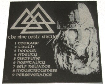 """6"""" square granite tile engraved with the 9 Noble Norse Viking virtues"""
