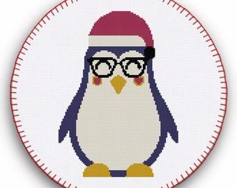 Penguin Cross Stitch, Penguin Cross Stitch Pattern, Cross Stitch Pattern, Hipster Cross Stitch, Printable Cross Stitch Patterns