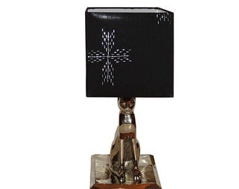 Silver Plated Egyptian Pharaoh Cat Lighting Table Lamp with Silver Stitched Lamp Shade