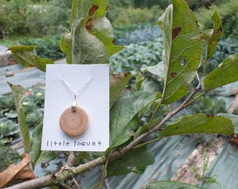 Natural pine wood pendant ~ organic wooden jewellery ~ simple earth jewellery ~ unique sterling silver pendant ~ eco jewellery ~ sustainable