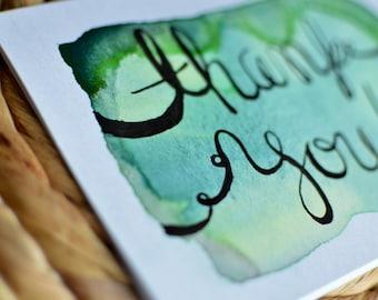 Watercolor Thank You Card - Handwritten