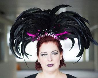 Gothic Las Vegas, showgirl, drag, clubbing, mardi gras, festival, clubbing, headpiece, headdress, fascinator, millinery