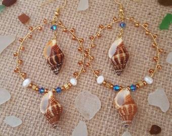 Seashell hoop earrings,hawaii jewelry,made in hawaii,gift ideas