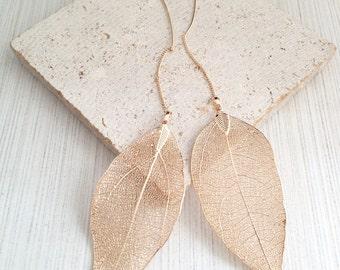 Leaf Earring,Gold Leaf Earring,Leaf Threader,Gold Leaf Threader,Gold Threader Earring,Threader Earring,Boho Earring,Bridesmaid Earring