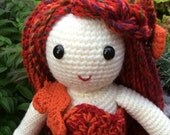 Seasonal crochet doll Annie is all set with her leaf detail dress and hair clip. Crochet Autumn doll hand made with love
