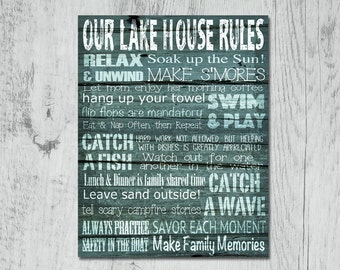 Lake House Rules Print, Weathered, Barn Wood Style Art, Rustic, Cottage Style – Instant Download. Available in 3 sizes.