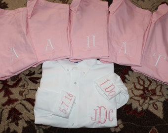 Set of 3 Personalized Oversized Monogrammed Bridesmaids Shirt, Front Pocket Monogram Shirt- Bride Wedding Gift, Bridal Shower- Getting Ready