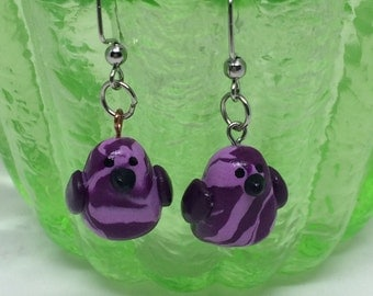 Color Swirl bird earrings