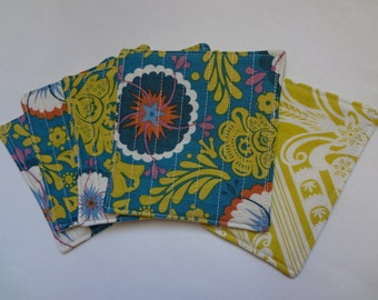 Quilted Coasters -- Anna Maria Horner Folk Song and Loulouthi fabric