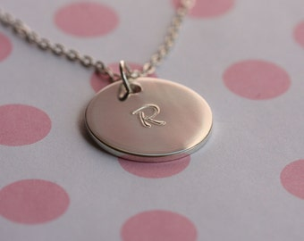 Initial Disc Medium..... Personalized Initial Pendant, Sterling Silver Disc