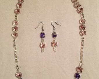 Pretty purple necklace/earring set