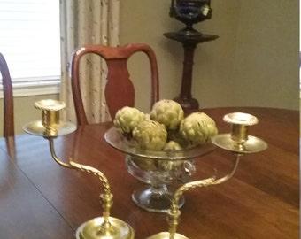 Vintage Pair Solid Brass Candlesticks