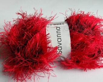 RED Savanna Brand Yarn RED Eyelash Yarn German quality Yarns Novelty Yarn