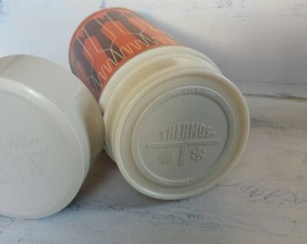 1971 King-Seeley Thermos Orange and Brown, Fork and Spoon pattern.  Pint size