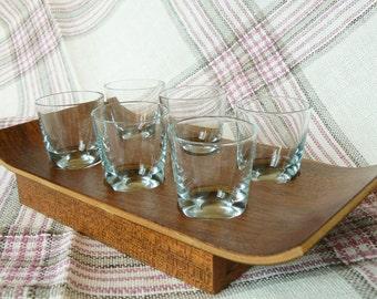 Set of 6 Vintage Shot Vodka Glasses on a Plywood Tray, Shot Glasses, Vintage Style, Latvia