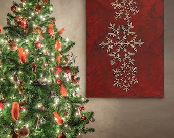 Snowflakes on Red I- by Jane Carroll Print on Gallery Wrapped Canvas, Christmas Wall Art