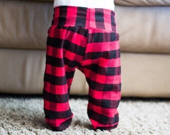 Plaid Baby Pants, Baby Pants, Boy Baby Pants, Girl Baby Pants, Fall Baby Pants, Checkered Baby Pants, Red Plaid Baby Pants, Black Baby Pant
