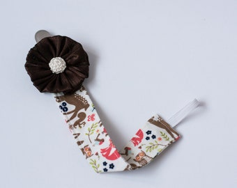 Brown Pacifier Clip-Baby Girl Pacifier Clip, Brown Flower Pacifier Clip, Pacifier Clip, Deer