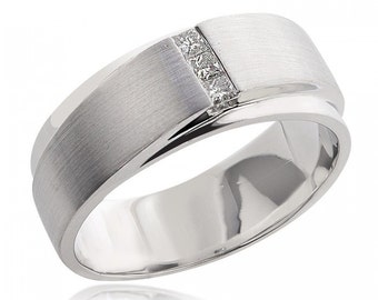 0.21 Carat Mens Princess Cut Diamond Wedding Band 14K White Gold