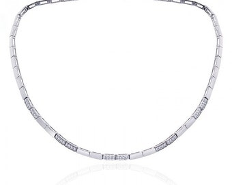 0.75 Carat Pavé Round Cut Diamond Rectangular Link Necklace 14K White Gold