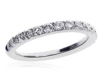 18K White Gold Round Brilliant Diamond Wedding Band 0.85 tcw, G, VS-2
