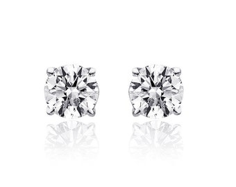 0.95 Carat Round Brilliant Cut Diamond Solitaire Stud Earrings 14K White Gold