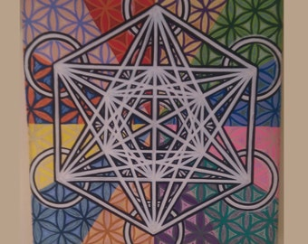 Sacred Geometry Acrylic Painting Abstract Metatron's Cube