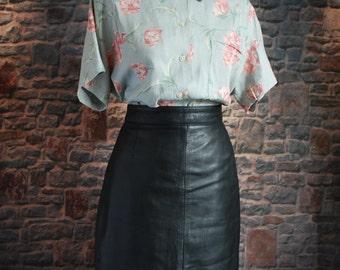 GENUINE Vintage Pencil Skirt, High waisted, 100% Leather, UK 12