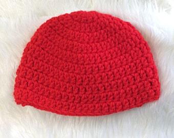 Red Baby Hat, Red Crochet Hat, Crochet Hat, Baby Hat, Simple Crochet Hat