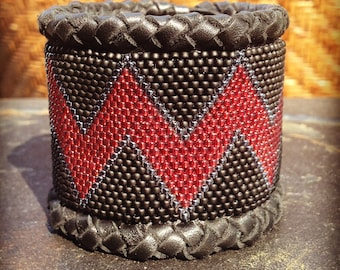 Red Wave Leather Cuff